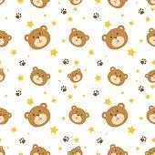 Cute bear face seamless pattern vector background