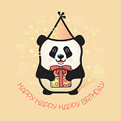 Happy Birthday card. Funny Panda in party hat holds a gift. Vector illustration with a line art cute animal bear panda and accessories for birthday isolated on light background.