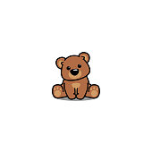 Cute bear sitting, vector illustration