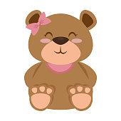 cute bear teddy female vector illustration design
