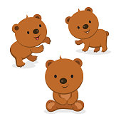 Vector illustration of cute little bears.