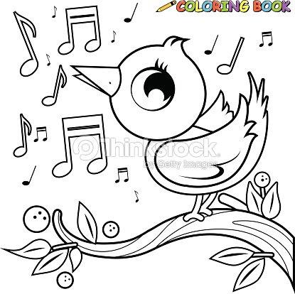 Linda Ave En Rama Libro Para Colorear Página De Música Arte ...
