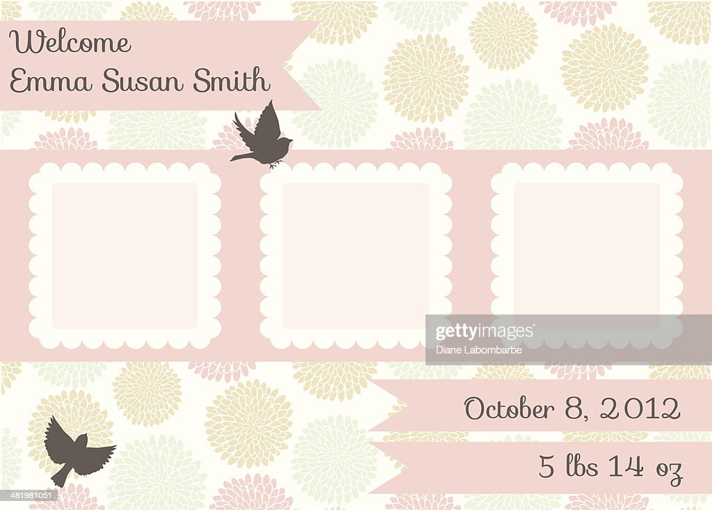 Cute Birth Announcement Template Girl Vector Art | Getty Images