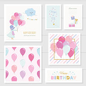 Cute birthday cards for girls with glitter elements. Included seamless pattern with colorful balloons. Watercolor. Vector