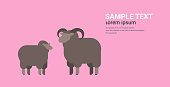 cute black sheep and ram wool farm domestic animals breeding concept flat horizontal copy space vector illustration