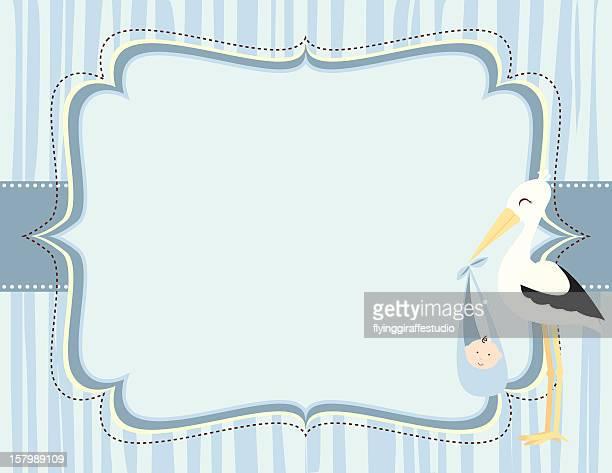 Cute Blue Baby Boy Stork Card