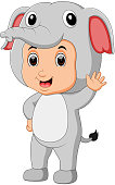 illustration of Cute boy cartoon wearing elephant costume
