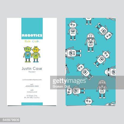 Cute Boy Girl Robot Cartoon Character Business Card Vector Art
