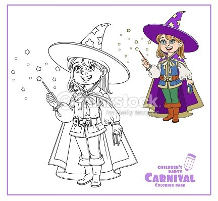 Cute Boy In Magician Costume Color And Outlined For Coloring Page Vector Art