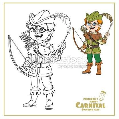 Chico Lindo En Robin Hood Traje Color Y Contorneado Para Colorear ...