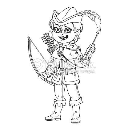 Chico Guapo En Traje De Robin Hood Para Colorear Página Arte ...