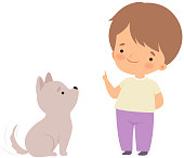 Cute Boy Playing with Puppy, Kid Interacting with Animal in Contact Zoo Cartoon Vector Illustration on White Background.