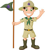 vector illustration of cute boy scout cartoon holding pole yelling