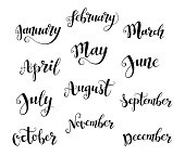 Cute brush calligraphy of months of the year for your decoration