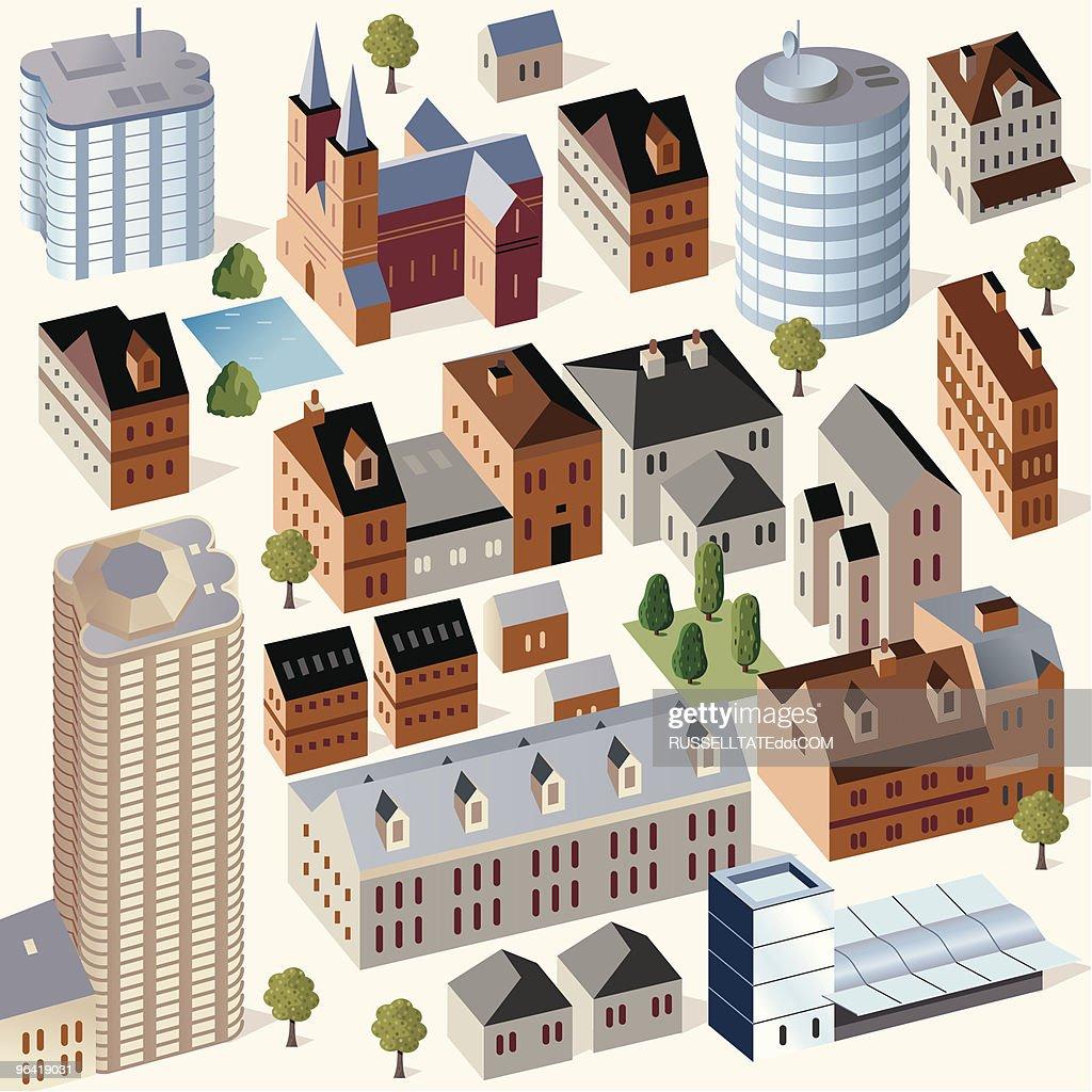 Cute Buildings #3 : Vector Art