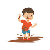 Cute bully boy jumping in a dirt, hoodlum cheerful little kid, bad child behavior vector Illustration on a white background