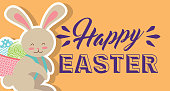 cute bunny with basket on his back with eggs happy easter banner horizontal vector illustration