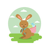 cute bunny with basket on his back with eggs in landscape field vector illustration