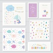 Cute cards with gold glitter elements for girls. Can be used for baby shower, birthday, babies clothes, notebook cover design. Included two seamless patterns with rain drops and clouds. Watercolor.