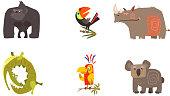 Cute cartoon African animals set, gorilla, toucan, rhino, crocodile, parrot, koala bear vector Illustration isolated on a white background.