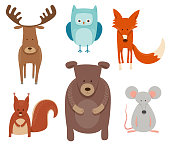 Cartoon Illustration of Cute Animal Characters in the Scandinavian Style