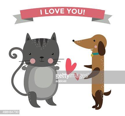 Animaux De Dessin Anime Mignon Couple Amoureux Banniere Illustration