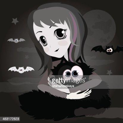 Jolie Fille Avec Dessin Anime Chat Noir Anime Clipart Vectoriel