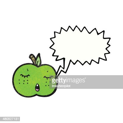 cute cartoon apple with speech bubble : Vector Art