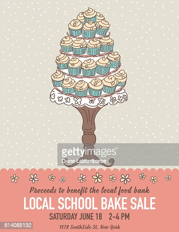 Cute Cartoon Bake Sale Flyer Template Vector Art | Getty Images