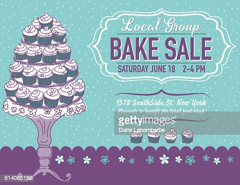 Cute Cartoon Bake Sale Flyer Template Vector Art  Getty Images