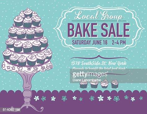 Cute Cartoon Bake Sale Flyer Template Vector Art  Getty Images