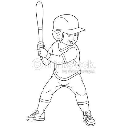 Osito De Peluche De Historieta Jugador De Béisbol Arte vectorial ...