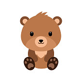 Cute cartoon bear backgrounds. Flat design. Vector Illustration isolated on white background.