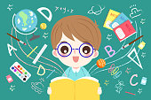 cute cartoon boy student read book with blackboard