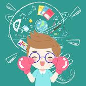 cute cartoon boy student wear glove and glasses wtih blackboard