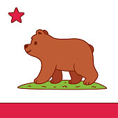 Stylized California flag with cute cartoon bear drawing. Brown grizzly bear standing on grass patch with red stripe and star. Vector illustration.