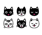 Cute cartoon cat drawing set, sticking out tongue. Funny hand drawn vector illustration.