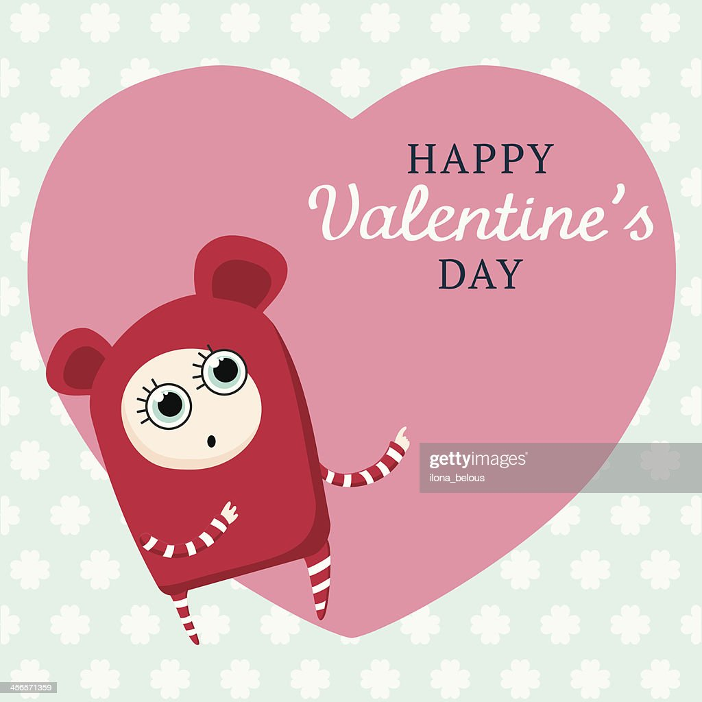 Cartoon Characters Valentines Day : Cute cartoon character on big heart valentines day