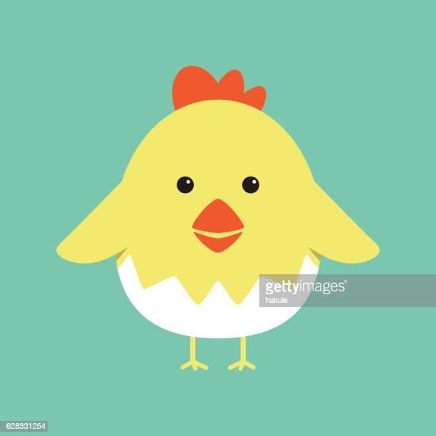 Cute cartoon chicken , vector illustration.