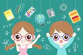 cute cartoon children student wear glasses wtih blackboard