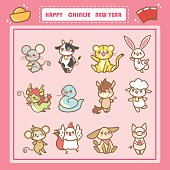 cute cartoon chinese zodiac set with happy chinese new year