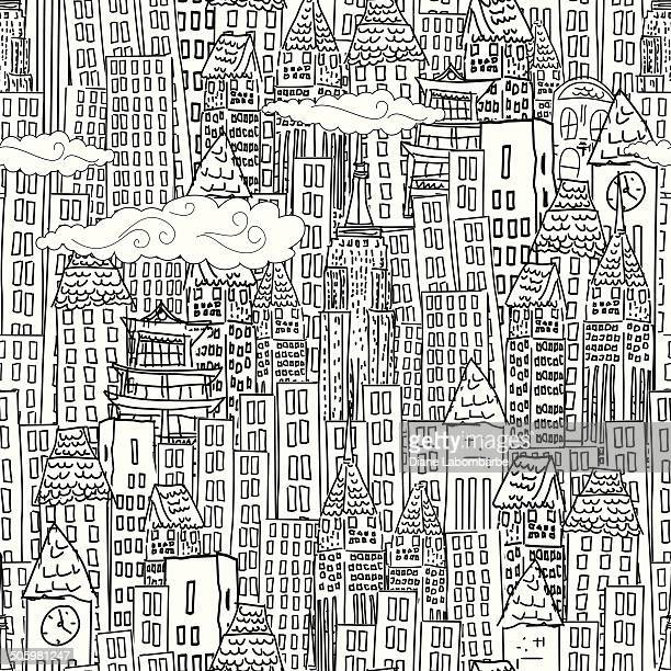 Cute Cartoon City - Seamless Pattern