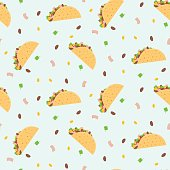 Cute cartoon colorful seamless pattern with mexican tacos, corn, lettuce and kidney bean. Nice fastfood pattern for textile, cafe and restaurant wrapping paper, covers, banners, background, wallpaper