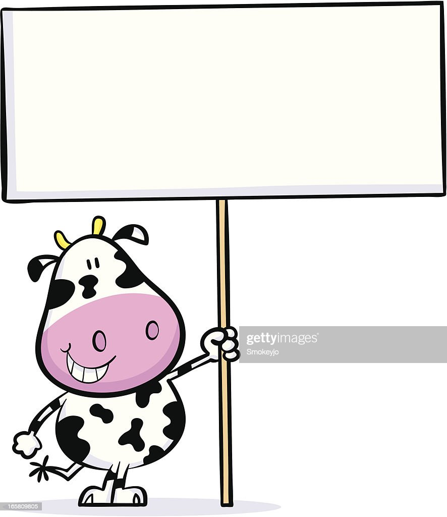cute cartoon cow holding up a blank sign vector art getty images