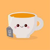 funny cute cup drawn with a smile, eyes and hands, cartoon cup of tea with millk, cardboard character
