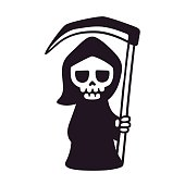 Cute death with scythe, isolated black and white drawing. Cartoon Grim Reaper vector illustration.