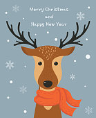 Cute cartoon deer with scarf. Merry Christmas and Happy new year card design. Vector illustration.