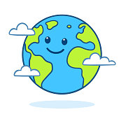 Planet Earth drawing with cute cartoon face. Nature and ecology vector clip art illustration.