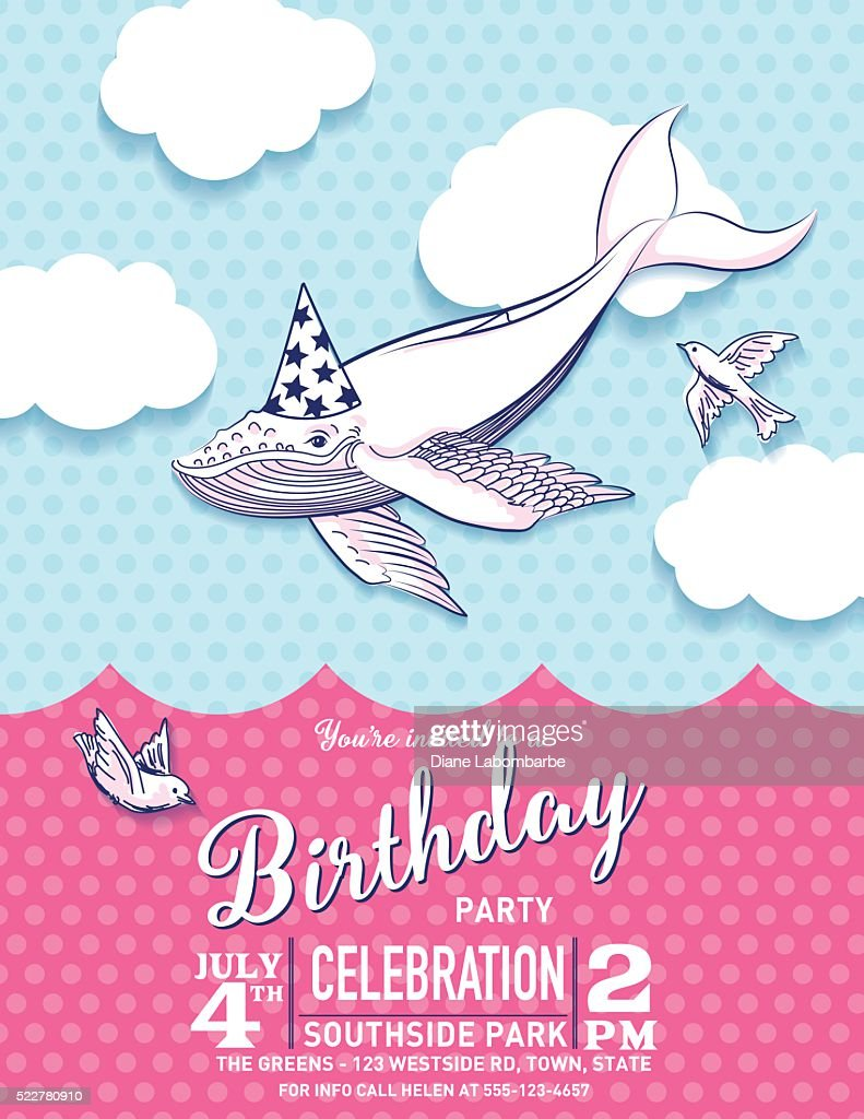 Cute Cartoon Flying Whale Birthday Hat Party Invitation Vector Art ...