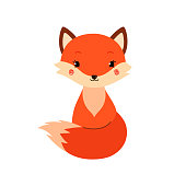 Cute cartoon fox in modern simple flat style. Vector illustration.